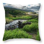 Fossa Waterfall In Hvalfjordur, Iceland Throw Pillow