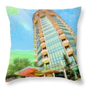 Founder's Tower In Oklahoma City Throw Pillow