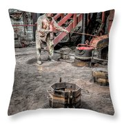 Foundry Worker Throw Pillow
