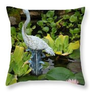 Fountain Among Lilies Throw Pillow