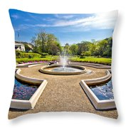 Fountain And Park In Zagreb Throw Pillow