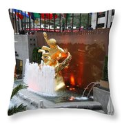 Fountain And Prometheus - Rockefeller Center Throw Pillow