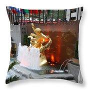 Fountain And Prometheus - Rockefeller Center Throw Pillow