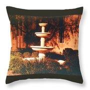 Church Fountain Night Shadows Throw Pillow