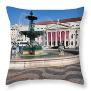 Fountain And Theater On Rossio Square In Lisbon Throw Pillow