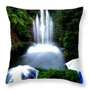 Fountain And Umbrellas Throw Pillow