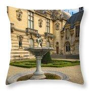 Fountain At Chateau De Chantilly Throw Pillow