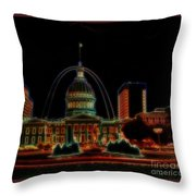 Fountain At City Garden In Neon Framed Throw Pillow