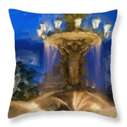 Fountain At Dusk Throw Pillow