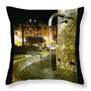 Fountain At Night Throw Pillow