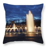 Fountain At Night World War II Memorial Washington Dc Throw Pillow