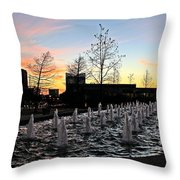 Fountain At Trinity River Campus 1566m Throw Pillow