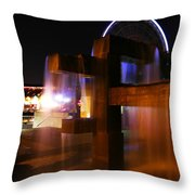 Fountain Foreground The Seattle Ferris Wheel Throw Pillow