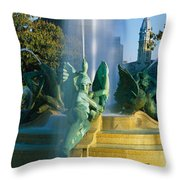 Fountain In Front Of A Building, Logan Throw Pillow