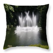 Fountain In Lake Throw Pillow