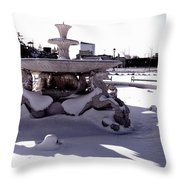 Fountain In The Snow Throw Pillow