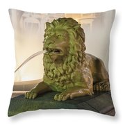 Fountain Of The Lions At Plaza Las Delicias In Puerto Rico Throw Pillow