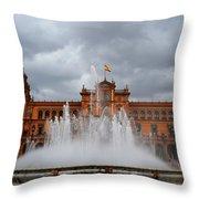 Fountain On Plaza De Espana. Seville Throw Pillow by Jenny Rainbow