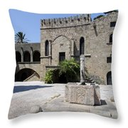 Fountain  - Rhodos City Throw Pillow