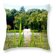 Fountain Side Throw Pillow by Greg Fortier
