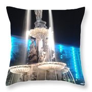 Fountain Square At Night Throw Pillow