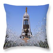 Fountains And The Arch Of Neutrality At Ashgabat In Turkmenistan Throw Pillow