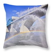 Fountains And The Market Street Bridge Throw Pillow by Tom and Pat Cory