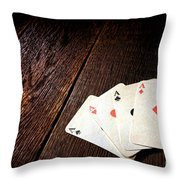 Four Aces Throw Pillow by Olivier Le Queinec