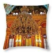 Four And One-half Ton Crystal Chandelier In Ceremonial Hall In Dolmabache Palace In Istanbul-turkey  Throw Pillow