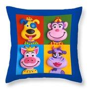 Four Animal Faces Throw Pillow