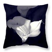 Four Calla Lilies In Shade Throw Pillow