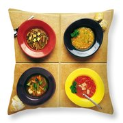 Four Dishes Of Different Food Throw Pillow