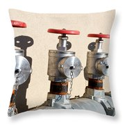 Four Emergency Water Valves Throw Pillow by Trever Miller