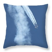 Four F-16 Falcons Doing A Loop In The Sky Throw Pillow