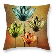 Four Fractal Flower Throw Pillow