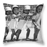 Four Little Girls Having Fun Throw Pillow