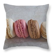Four Macarons In A Row Throw Pillow