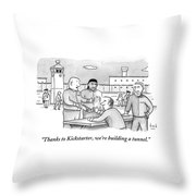 Four Men Converse Outdoors In A Prisoner Throw Pillow