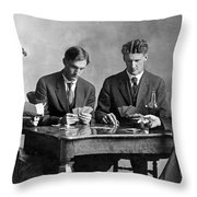 Four Men Playing Cards Throw Pillow