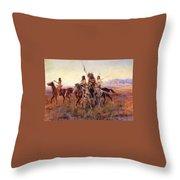 Four Mounted Indians Throw Pillow