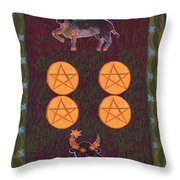 Four Of Pentacles Throw Pillow