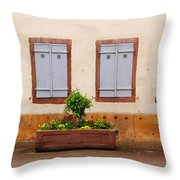 Four Pale Blue Shutters In Alsace France Throw Pillow