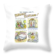 Four Panels Advertise Parkway Playland Throw Pillow