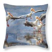 Four Pelican Landing Watercolor Effect Throw Pillow