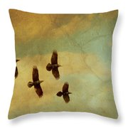 Four Ravens Flying Throw Pillow