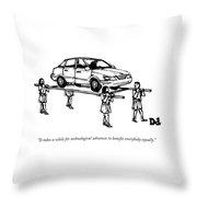 Four Roman Servants Carry A Car On A Canopy Like Throw Pillow