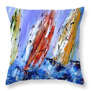 Four Sails To Four Winds Available As A Signed And Numbered Print On Canvas See Www.pixi-art.com Throw Pillow