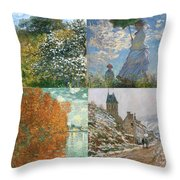 Four Seasons A Collage Of Monets Throw Pillow