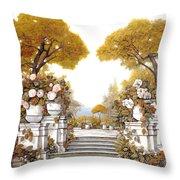 four seasons-autumn on lake Maggiore Throw Pillow by Guido Borelli