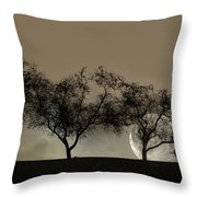 Four Trees And A Moon Throw Pillow